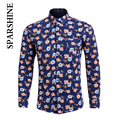Flower Printed Casual Shirts for Men Button Up Men's Warm Shirts Top Quality Mens Long Sleeve Dress Shirts Man Winter Shirt