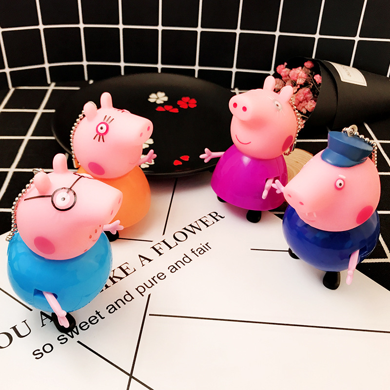 Missxiang new soft head hands and feet will move Pepe doll super cute cute decoration key chain ornaments wholesale Zodiac pig