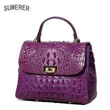 SUWERER 2019 New Superior cowhide genuine leather women handbags Embossed crocodile pattern Fashion