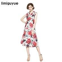 Limiguyue alta qualità designer pista senza maniche stampa peonia floreale  lungo vestito delle donne della farfalla af36204a1bd