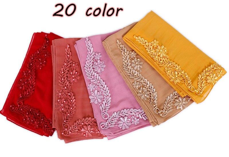 115cm Square Flower Beads Hijab Scarf Plain Maxi Pearls Wraps Shawls Muslim Scarves Headband Wraps Turbans Scarves 10pcs/lot