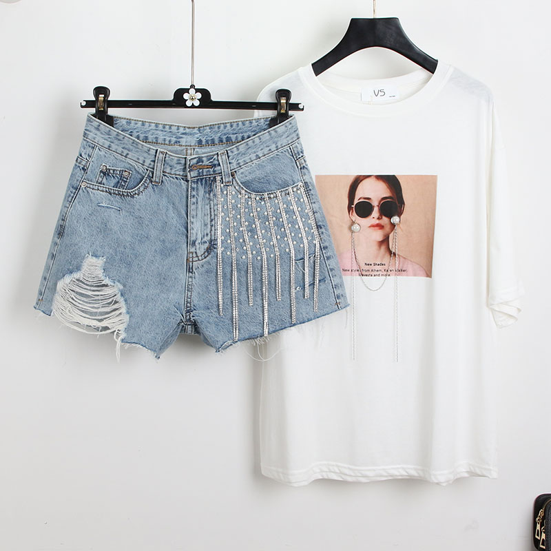 Qualified Broken Cowboy Shorts Women 2019 Fashion Summer Heavy Diamond Chain Tassel High Waist Denim Shorts Hole A-line Jeans Shorts Women's Clothing
