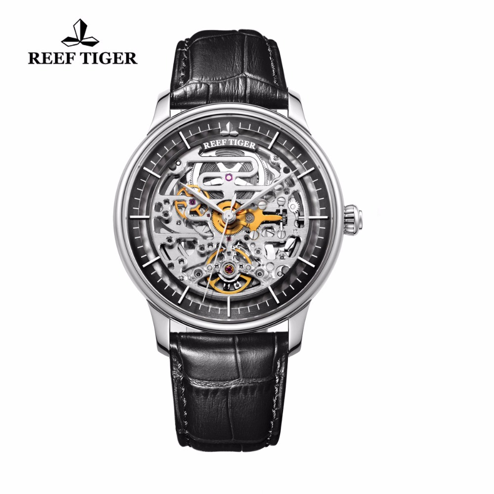 Reef Tiger/RT Designer Skeleton Mens Watch Steel Case Calfskin Leather Automatic Wrist Watch RGA1975 2x yongnuo yn600ex rt yn e3 rt master flash speedlite for canon rt radio trigger system st e3 rt 600ex rt 5d3 7d 6d 70d 60d 5d