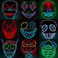EL alambre máscara de neón LED para Halloween mañana tierra de miedo máscaras de cosplay para fiestas por 3V estable en EL conductor