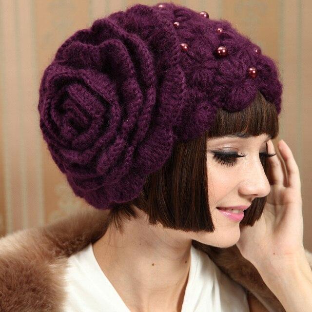 новая женская шапка ручной работы мохер красивый цветок вязаная