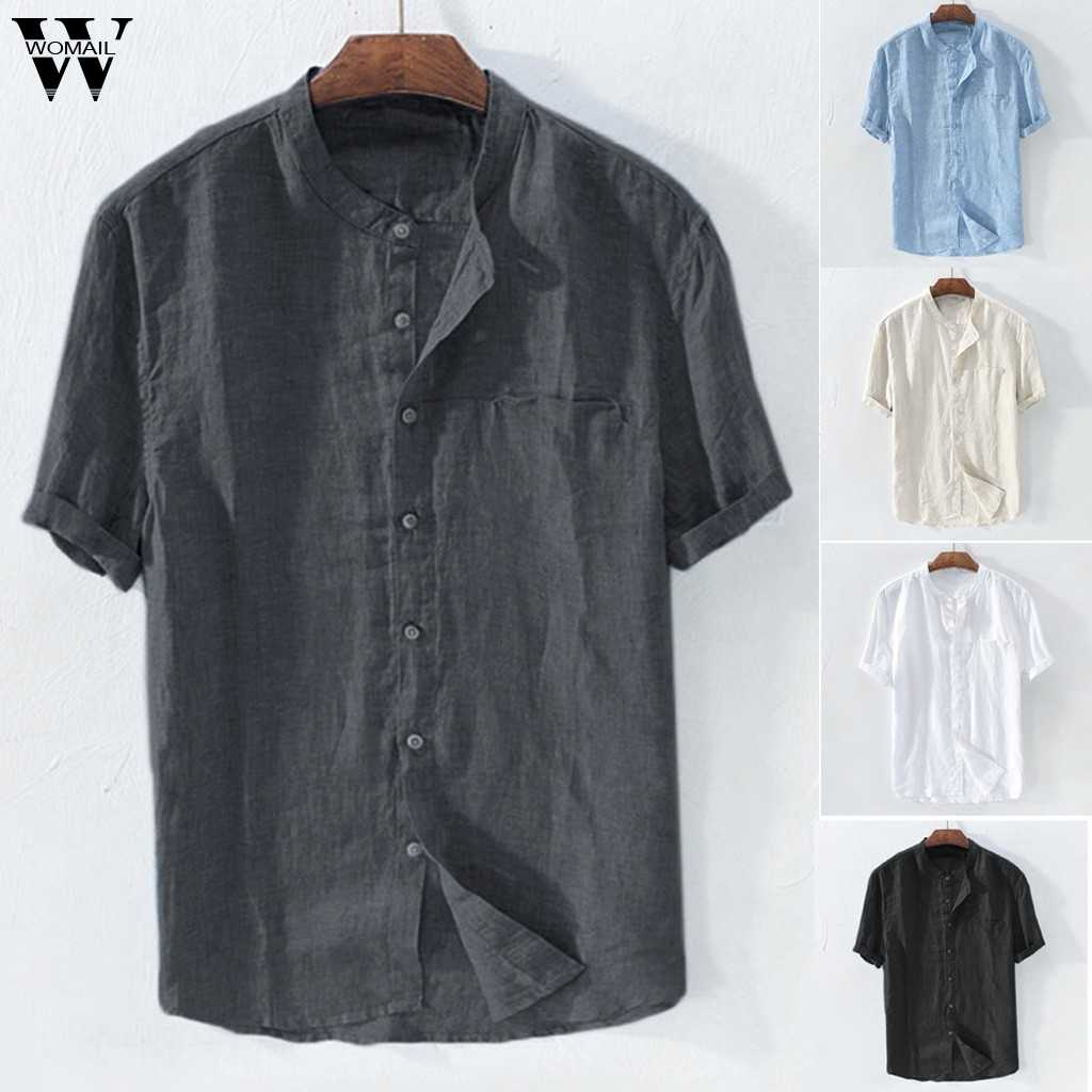 Womail Shirt Men summer Short-sleeved Baggy Cotton Solid Button Beach Shirts Daily Retro high quality New fashion 2019 A17