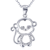 925 Sterling Silver Jewelry Cute Zodiac Tiny Monkey Necklace AAA Zircon Necklaces Pendants With Pearl Jewelry