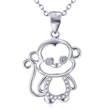 925 Sterling Silver Jewelry Cute Zodiac Tiny Monkey Necklace AAA Zircon Necklaces & Pendants With Pearl Jewelry Gift SN020
