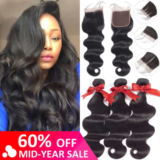 Brazilian Human Hair Body Wave 3 Bundles With Lace Closure
