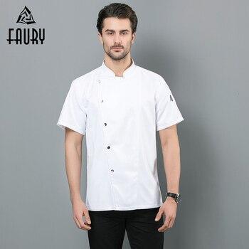 2019 chaqueta de cocinero blanco y negro ropa de trabajo transpirable de verano para hombres y mujeres, monos de Hotel, cocina, uniforme de Chef, camisa de cocinero