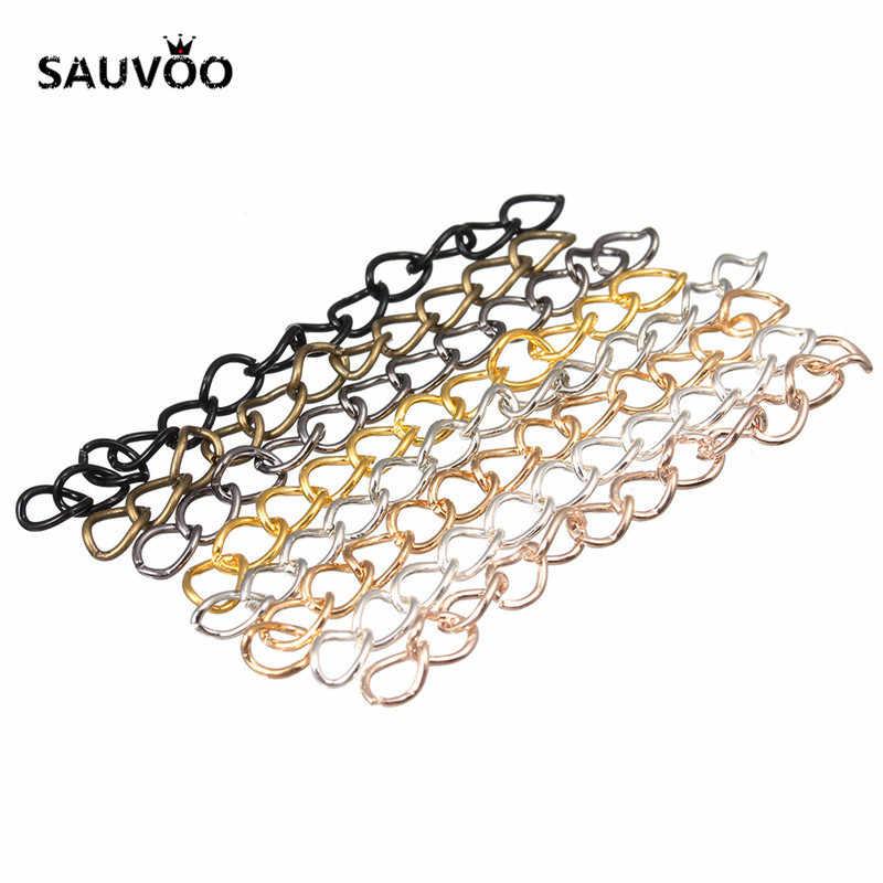 100 pçs/lote 50mm 70mm Colar de Prata Pulseira Cadeia Em Massa Estendida Correntes Rabo Extensão Extender Para DIY Jewelry Making Achados