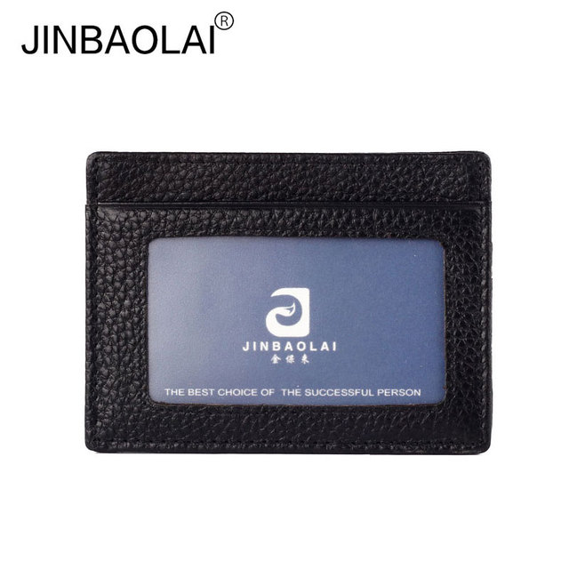 Genuine Leather Credit Card Holder Uni Men Women Business Coin Wallet Bit With