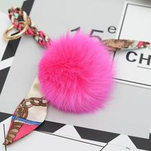 18colors! Lovely Real Fox Fur Keychain Fur Pompom Key Chain Pompon Keyring Charm Women Bag Pendant Accessories недорого