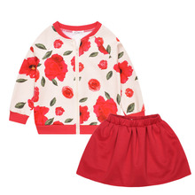 Trendy Fashion Flowers Prints Suit for Children Autumn Winter Clothing Set Children Sport 2pcs Set Sweater Suits For Girls