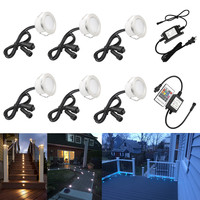 6pcs/lot 45mm Outdoor Landscape Terrace Stair Pathway Kickboard Recessed 12V Kitchen Cabinet LED Deck Rail Step Soffit Lights|LED Underground Lamps|   -