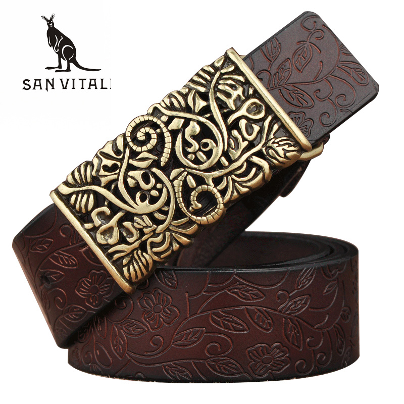 New Designer Women's <font><b>Belts</b></font> Fashion Genuine Leather Brand Straps Needle BuckLE Female Waistband Buckles Fancy Vintage for Jeans image