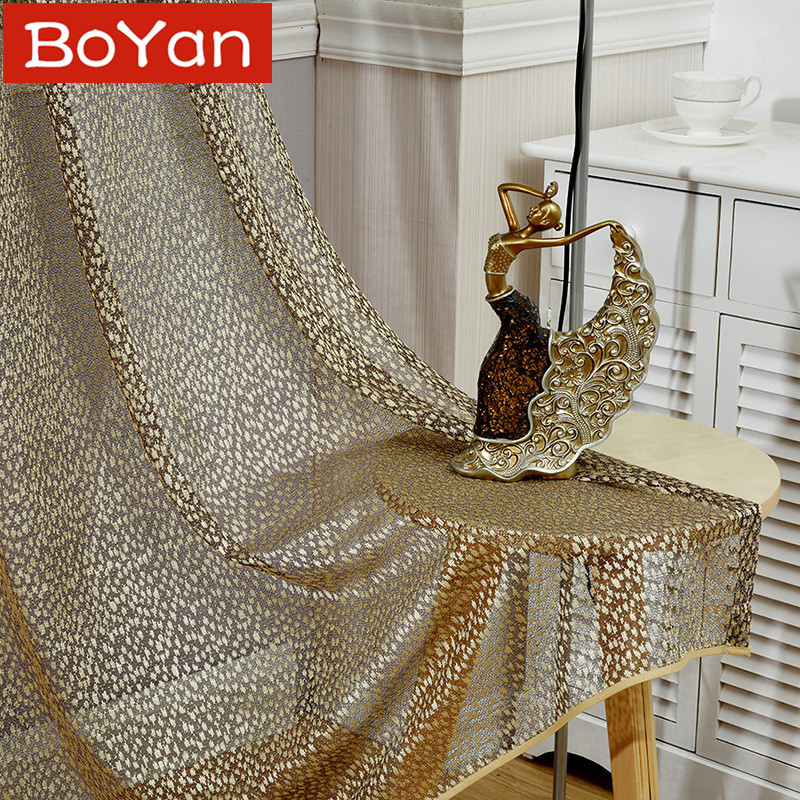 2 Colors European Jacquard Home Decoration Modern Coffee Curtain for Living Room Tulle Fabrics Sheer Leopard Window Treatment