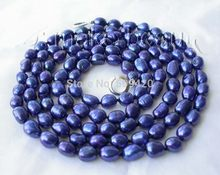 "~~ fast >>stunning long 50"" 9-10mm baroque blue freshwater cultured pearl necklace(China)"