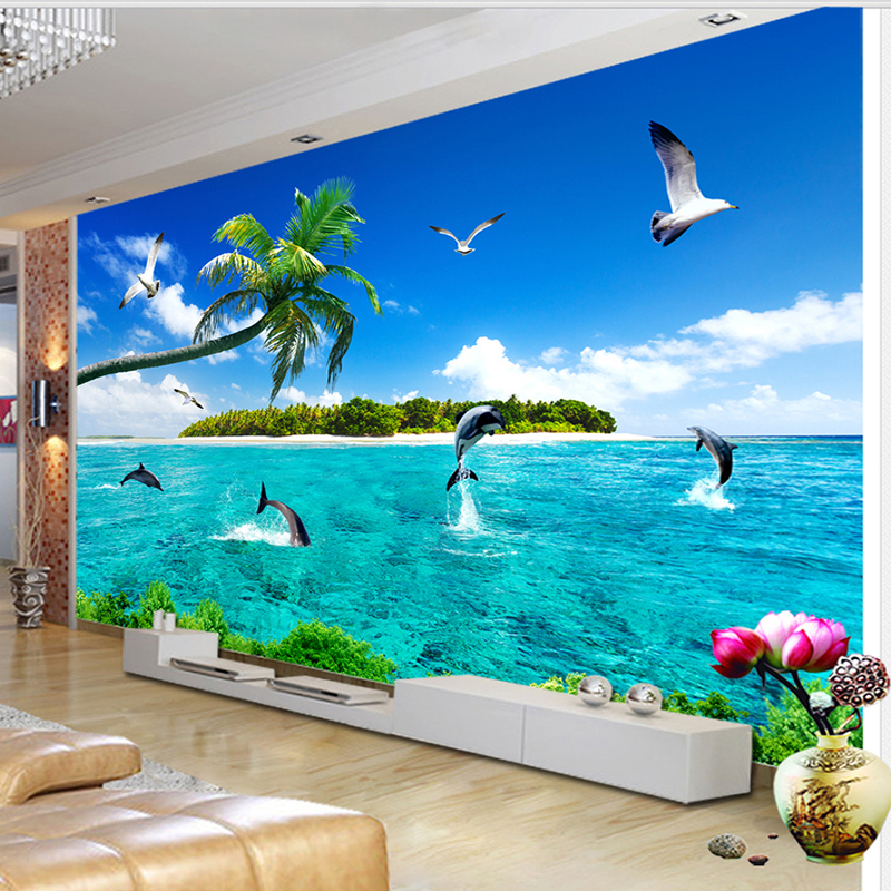 Custom Mural Wallpaper Summer Sea View Dolphin Modern TV Background Photo Wall Decoration Painting Wallpapers For Living Room 3D custom photo wallpaper european town street view entrance background modern painting mural wall papers home decor living room