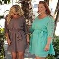 XXXL manga rendas mulheres vestidos de verão tamanhos grandes 2016 plus tamanho mulheres roupas dress o pescoço casual dress big size mulheres roupas