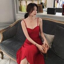 Летнее платье 2019 года новое сексуальное и клубное слинг красное платье A-Line V-образным вырезом