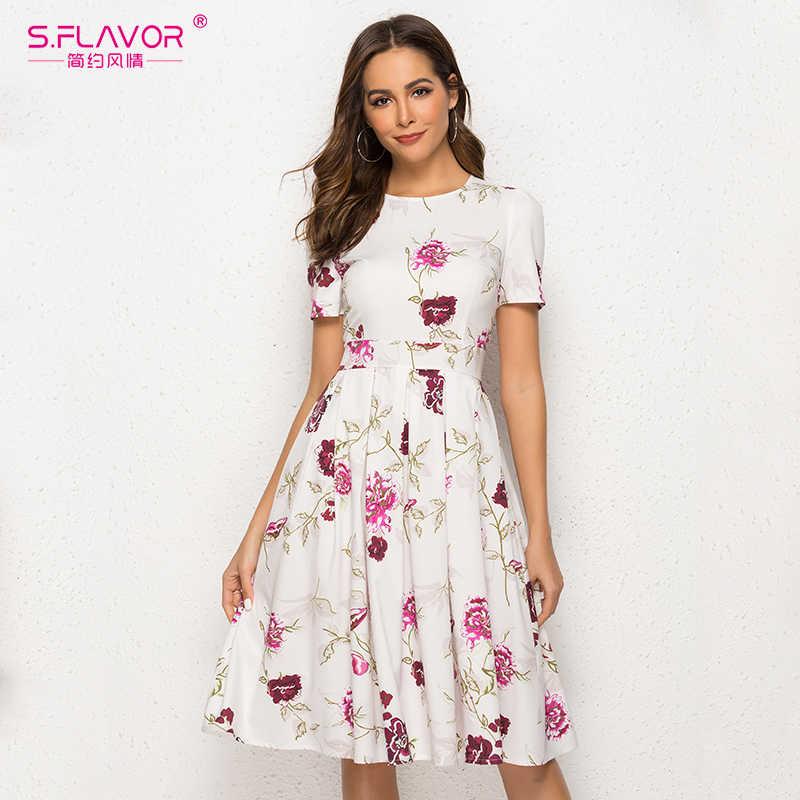 S.FLAVOR Vintage Women Short Sleeve