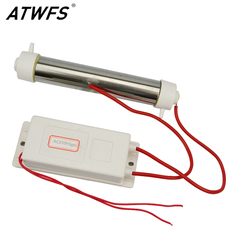 ATWFS New 220V 3g  Portable Ozone Generator Air Water Ozone Generator Ozone Water Purifier ozone generator ozone tube diy 3g hr for water plant purifier aquarium 3g ac110v