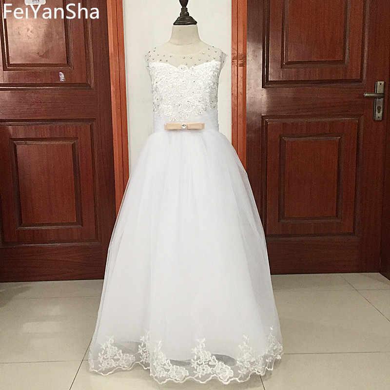 Vestido da menina da flor branca crianças pageant aniversário formal festa de renda vestido longo bowknot primeiro comunhão vestido de formatura 2-14y