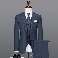 Мужской костюм Тонкий Лето Осень Новые поступления Бизнес жених свадебная одежда Королевский синий серый 50% шерсть высокое качество