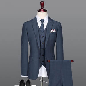 Men Suit Groom Wedding-Wear Grey Business Royal-Blue Summer High-Quality Autumn Thin