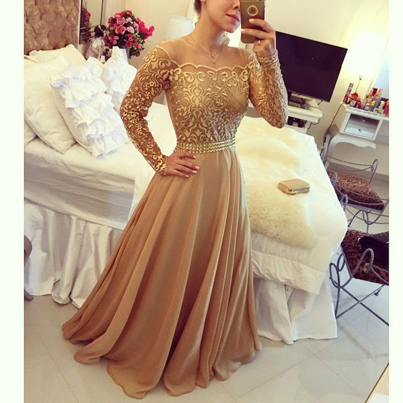 2016 New Design Evening Gowns Golden Off Shoulder Long -2596