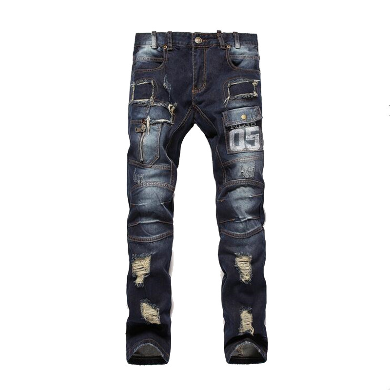 ABOORUN 2016 Punk Mens Ripped Jeans Destroyed Patchwork Hole Jeans Slim Printing Denim Pants P2010 slim hole patchwork leggings