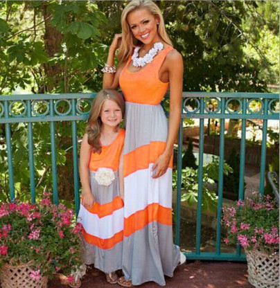 mother daughter dresses Family Matching Clothes Patchwork 2017 NEW Outfits Mom And Daughter Dress Clothes Vestidos Hot family clothing spring matching clothes mother daughter long sleeve dresses and vest two piece set matching mom daughter dress