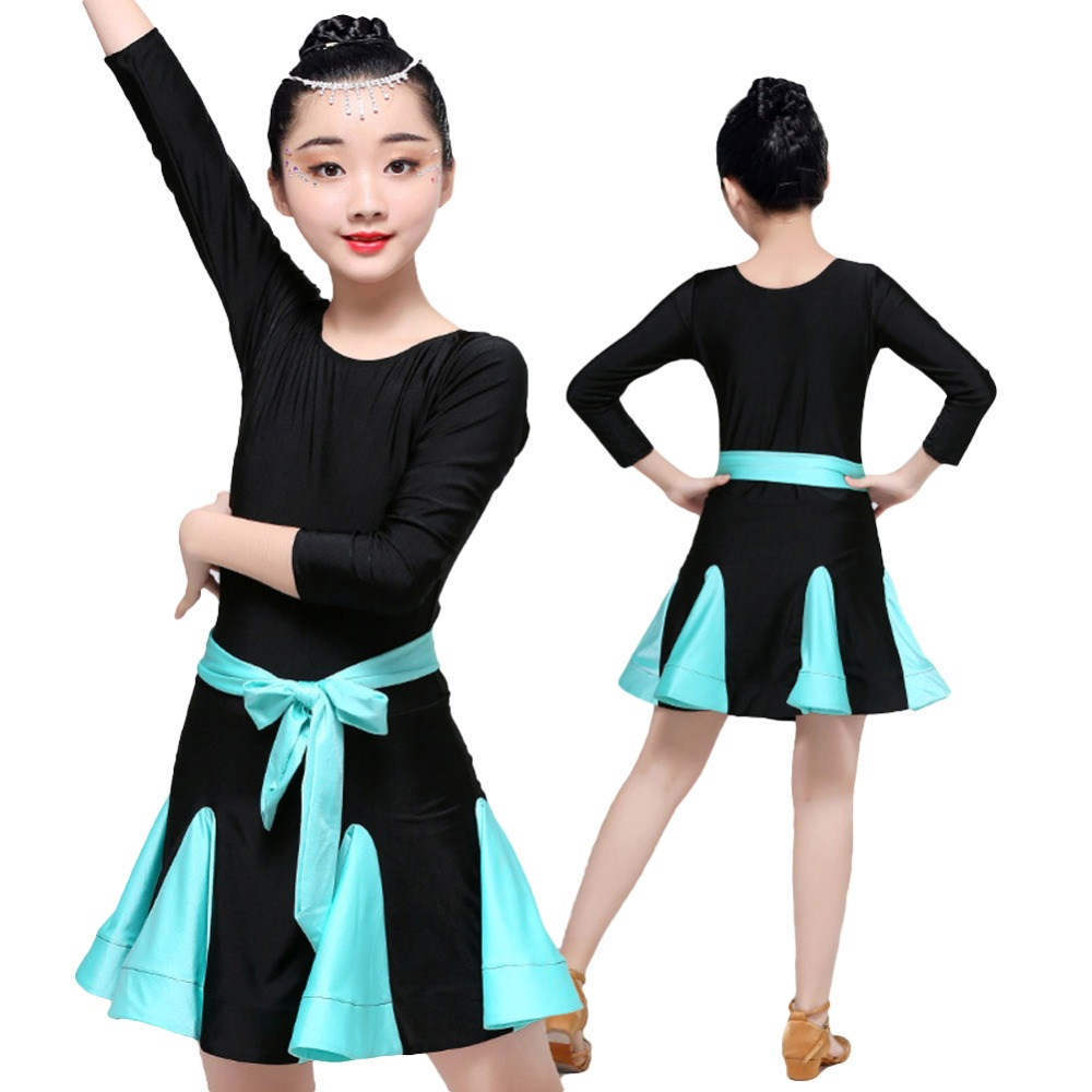 Summer Blue Latin Dance Dress Kids Practicing Clothes Performance Costume for Girls Competition Ballroom Dresses
