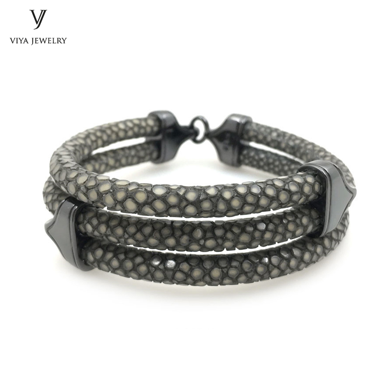 The Best Gift For Rock Boy 925 Silver Jewelry Genuine Stingray Bracelet For Watch Trendy Gray Stingray Leather Bracelet For Men the silver boy