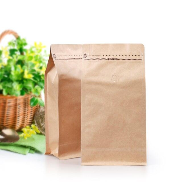 10pcs 1 Pound Kraft Paper Ziplock Bag Coffee Beans Packaging Eight Side Seal Zipper