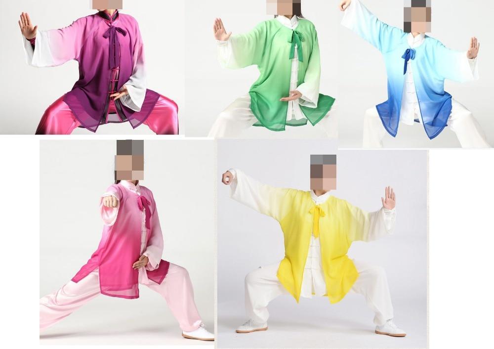 Hohe Qualität Chiffon Tai Chi Anzüge Taiji Kung Fu Cape Uniformen Kampfkunst Leistung Schleier Männer & Frauen Lila/blau/grün Trainings- & Übungs-jacken