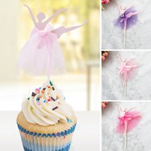 1 Pcs Ballet Girl Dress Birthday Cake Topper Cupcake Decoration Baby Shower Kids Birthday Party Wedding Favor Supplies(China)
