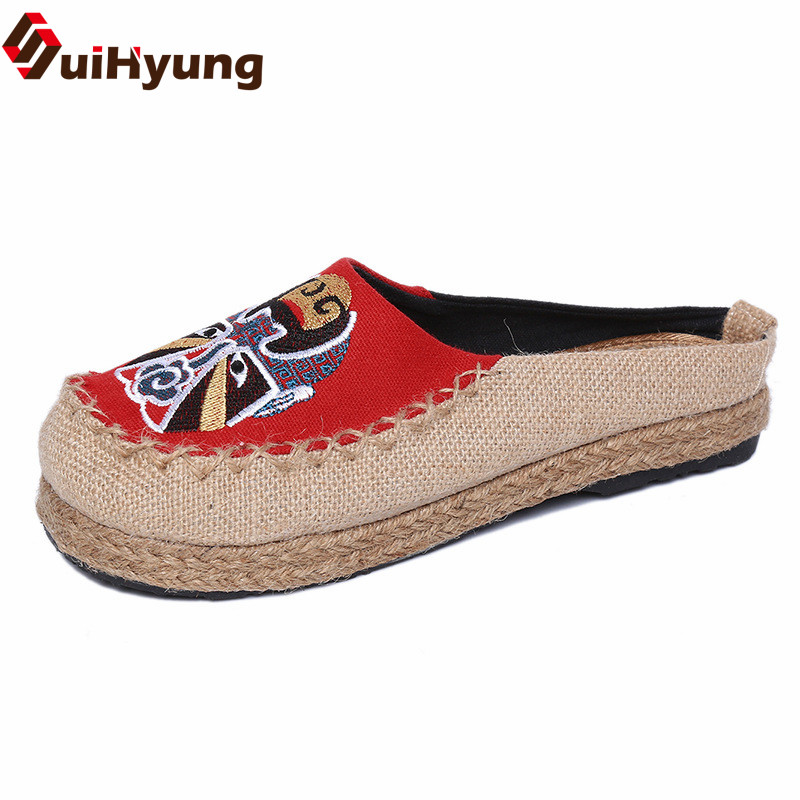 Suihyung New Women Casual Slippers Flats Chinese Embroidered Shoes Summer Outside Slippers Flip Flops Peking Opera Sandals 35-40 new women chinese traditional flower embroidered flats shoes casual comfortable soft canvas office career flats shoes g006