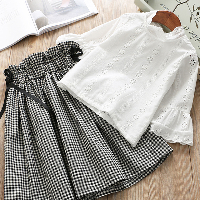 IYEAL New Fashion Kids Girl Clothes Set Long Sleeve White Lace T-shirt Tops + Plaid Skirt Outfit Children Toddler 2PCS Suit