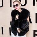 Настоящее Фокс Меховой Жилет Женщины 2016 Новая Мода Натурального Меха Лисы пальто Жилет Короткие Русский Реальных Природных Лисий Мех Пальто Жилет Куртка зима