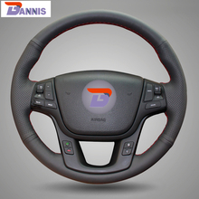 BANNIS Black Artificial Leather DIY Hand-stitched Steering Wheel Cover for Kia Sorento 2009-2014