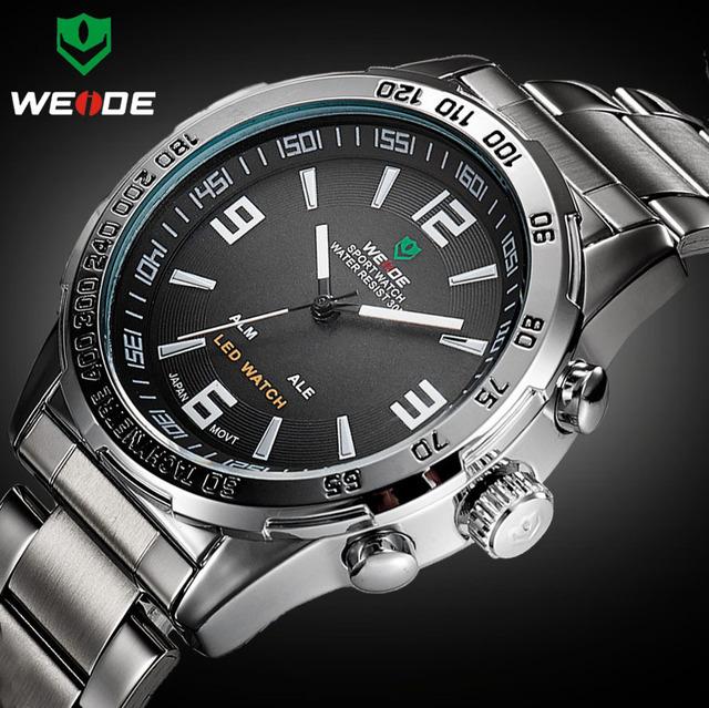 2016 Novos Relógios Homens Marca De Luxo Weide Completa Aço Quartz Relógio Led Relógio Digital Militar Esporte relógio de Pulso Relogio masculino