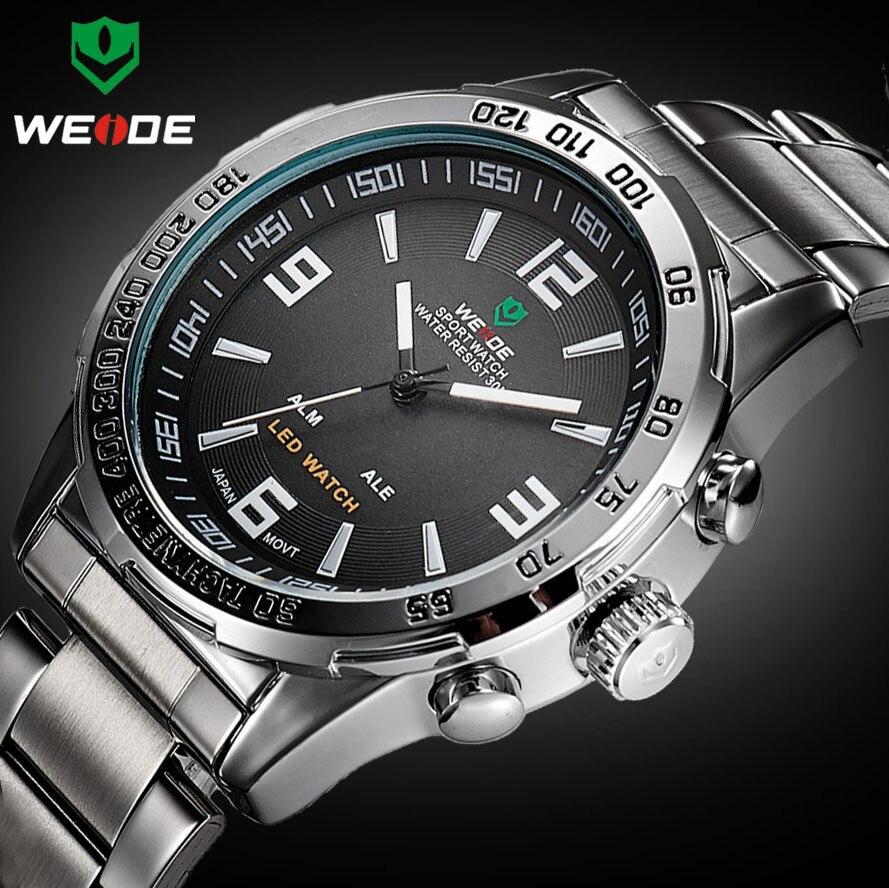 2018 nouvelles montres hommes marque de luxe Weide plein acier Quartz horloge Led numérique militaire montre Sport montre-bracelet Relogio Masculino