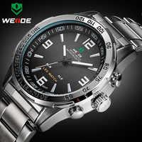 2018 novos relógios homens marca de luxo weide aço completo relógio de quartzo led digital militar relógio de pulso do esporte relogio masculino