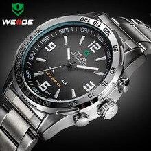 Новые мужские часы роскошного бренда Weide полностью Стальные кварцевые часы светодиодные цифровые армейские часы спортивные наручные часы Relogio Masculino