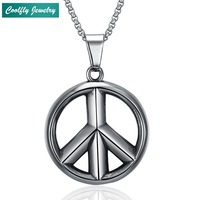 Vintage Stainless Steel Peace Round Pendant Necklaces For Men Punk Rock Antique Silver Plated USA Soldier