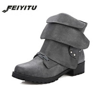feiyitu Fashion Winter Woman Ladies Horse Riding Boots Vintage Combat Punk Ankle Shoes Women PU Leather Short red gray
