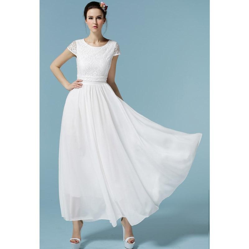2015 Women New Lace Chiffon Long Dress Elegant O Neck