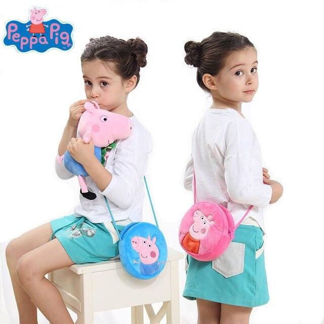 19 centímetros Genuíno Porco Peppa 2018 venda Quente Peppa com Urso de Peluche George com Dinossauro rosa azul rodada saco de pelúcia brinquedo das crianças dos miúdos